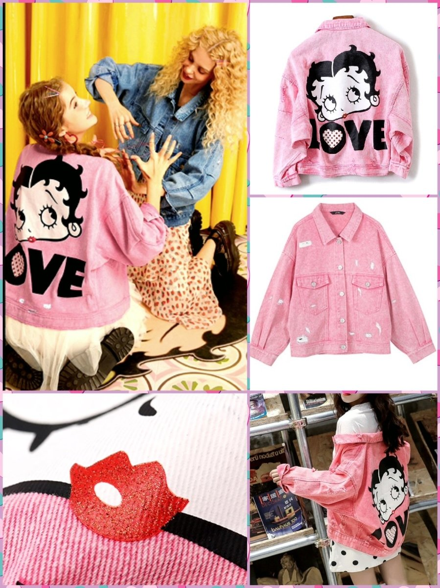 BlissGirl - Betty Boop Jacket - Pink / S - Harajuku - Kawaii - Alternative - Fashion