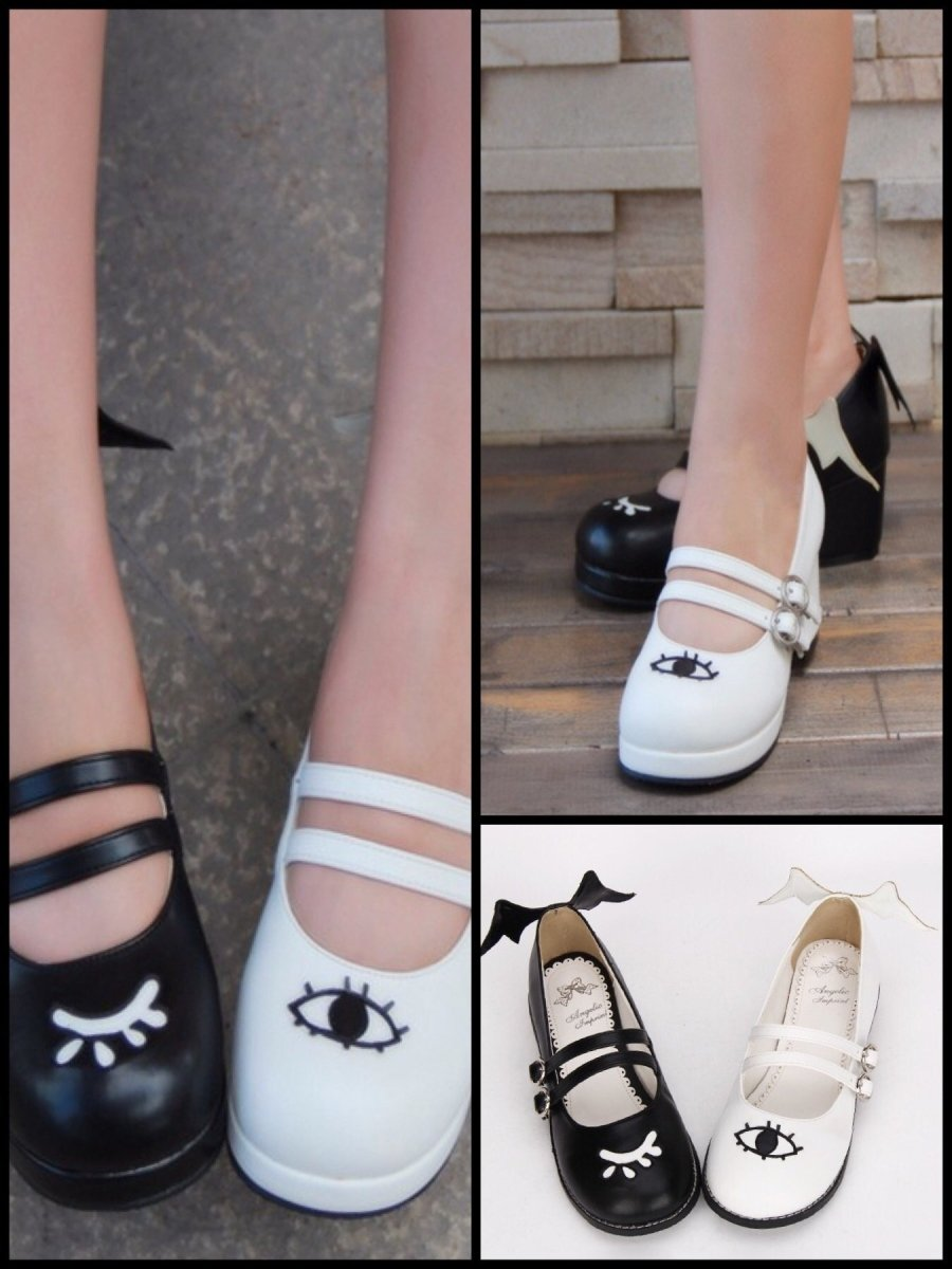BlissGirl - Flirty Mary Janes - Black white / 34 - Harajuku - Kawaii - Alternative - Fashion