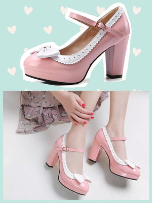 BlissGirl - Bow Pumps - Pink / 36 - Harajuku - Kawaii - Alternative - Fashion