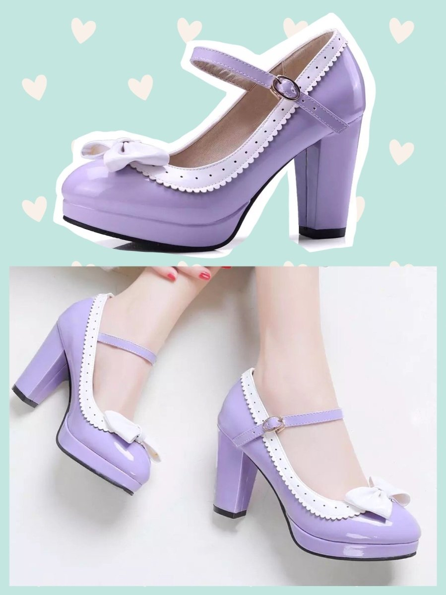 BlissGirl - Bow Pumps - Purple / 41 - Harajuku - Kawaii - Alternative - Fashion