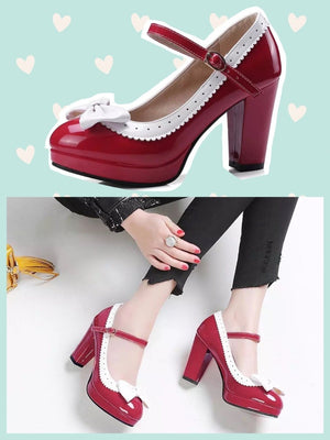 BlissGirl - Bow Pumps - Red / 42 - Harajuku - Kawaii - Alternative - Fashion