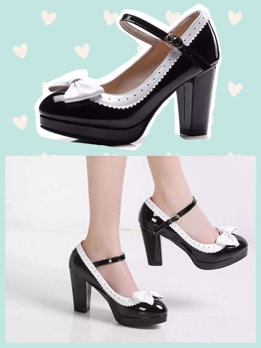 BlissGirl - Bow Pumps - Black / 33 - Harajuku - Kawaii - Alternative - Fashion