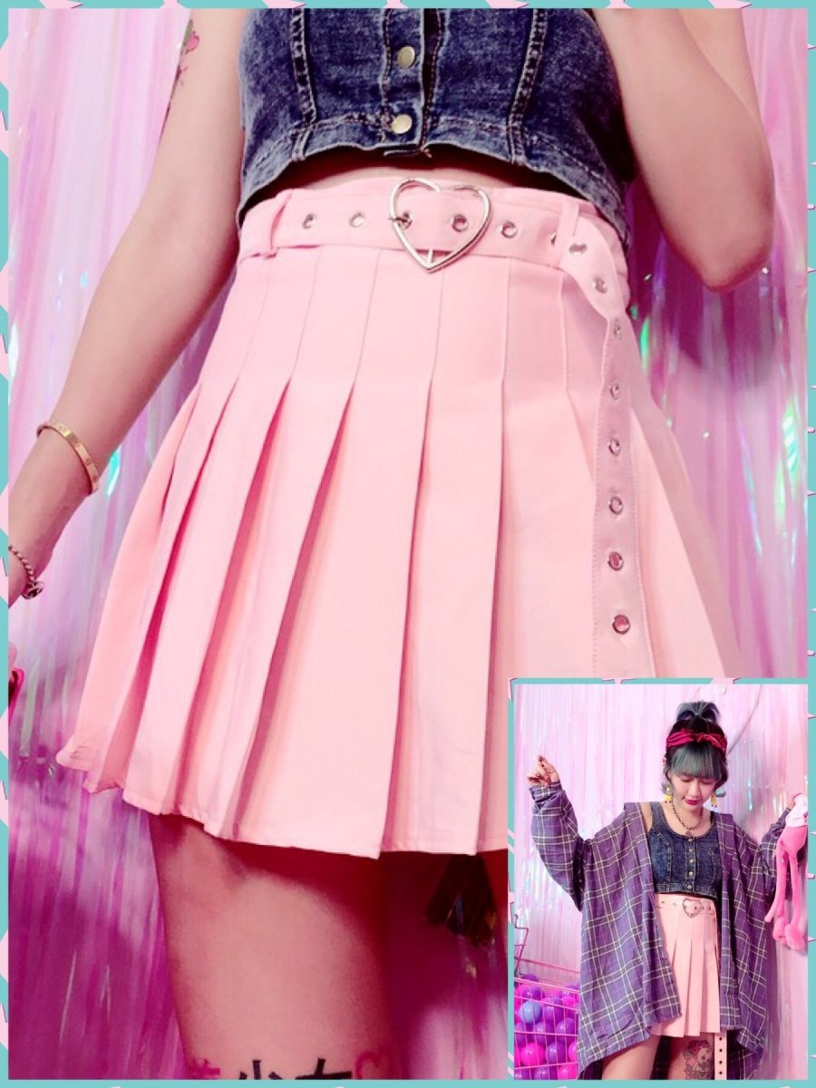 BlissGirl - Buckled Up Heart Skirt - Pink / S - Harajuku - Kawaii - Alternative - Fashion