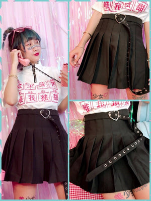 BlissGirl - Buckled Up Heart Skirt - Black / S - Harajuku - Kawaii - Alternative - Fashion