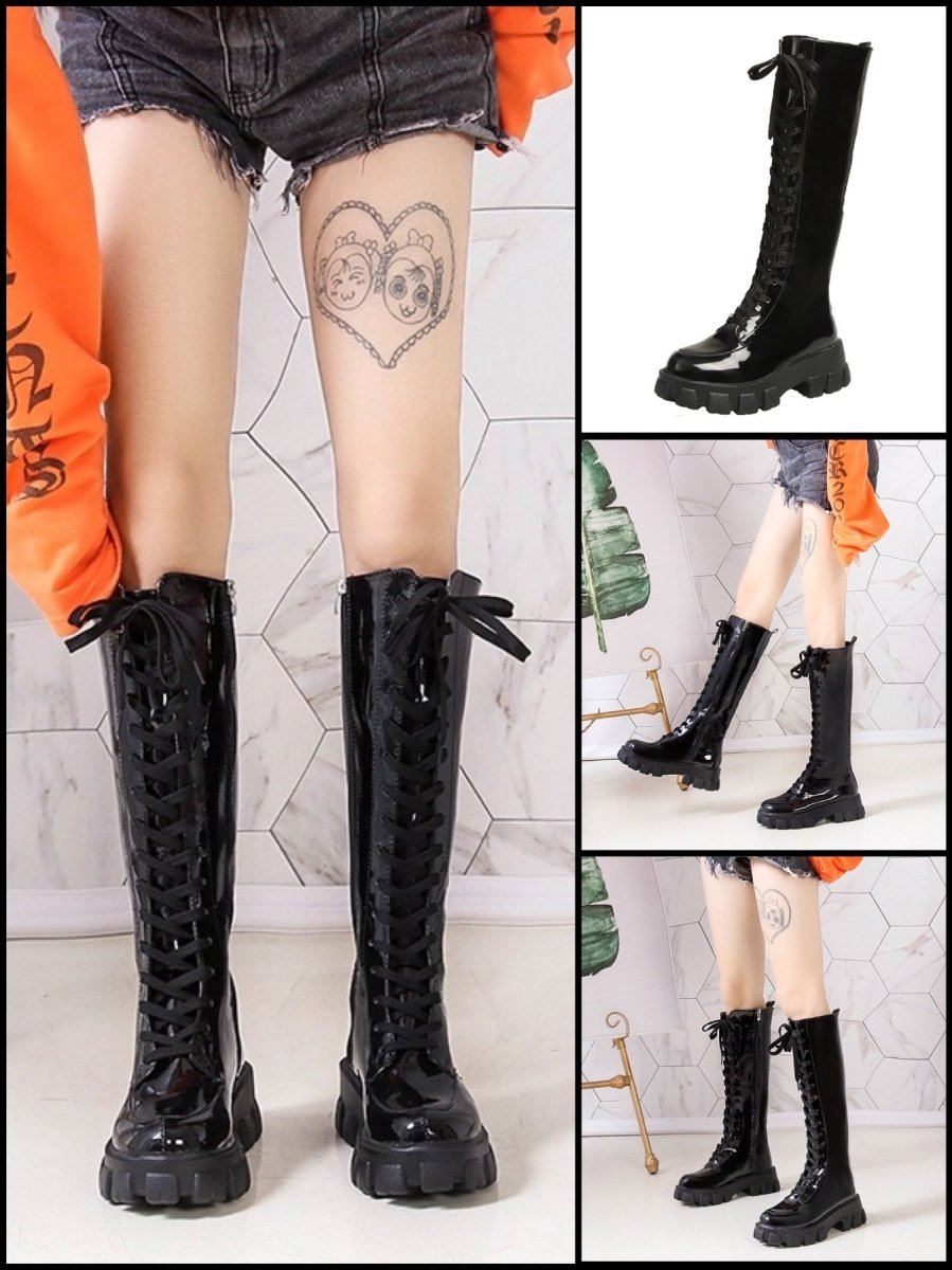 BlissGirl - Candy Patent Leather Boots - Black / 35 - Harajuku - Kawaii - Alternative - Fashion