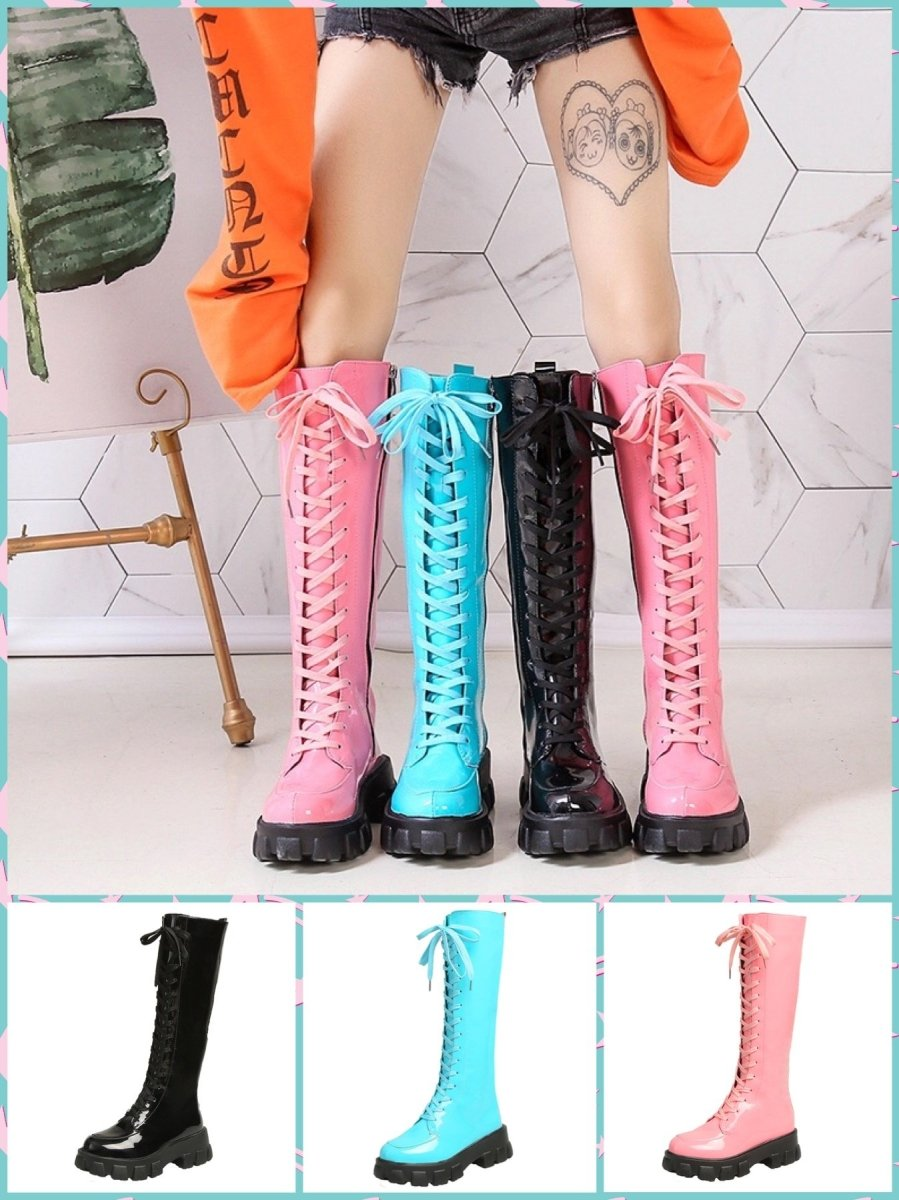 BlissGirl - Candy Patent Leather Boots - Harajuku - Kawaii - Alternative - Fashion