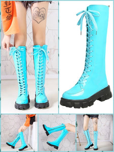 BlissGirl - Candy Patent Leather Boots - Turquoise / 35 - Harajuku - Kawaii - Alternative - Fashion