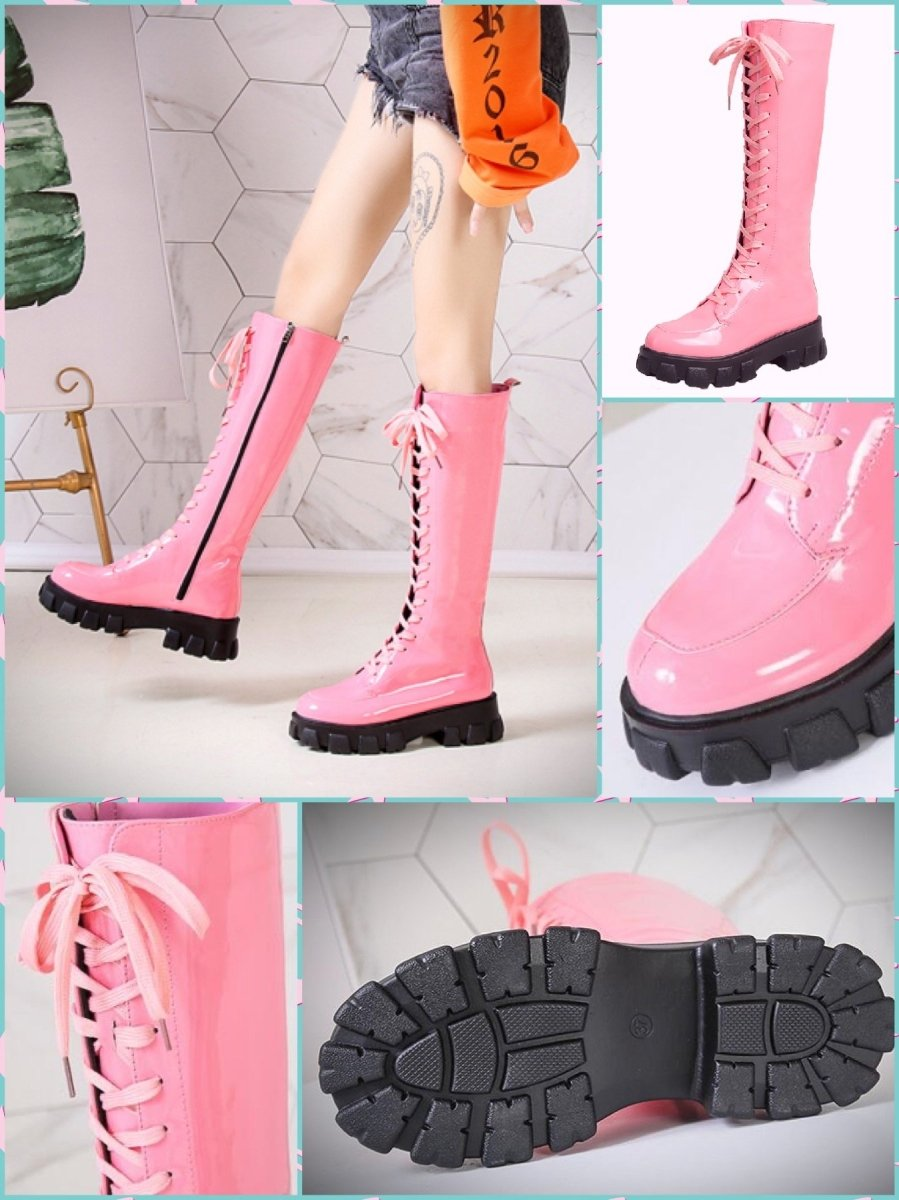 BlissGirl - Candy Patent Leather Boots - Pink / 35 - Harajuku - Kawaii - Alternative - Fashion