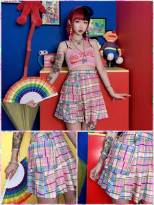 BlissGirl - Candy Plaid Mini Skirt - S - Harajuku - Kawaii - Alternative - Fashion