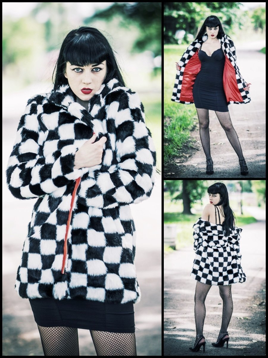 BlissGirl - Checkered Faux Fur Jacket - L - Harajuku - Kawaii - Alternative - Fashion