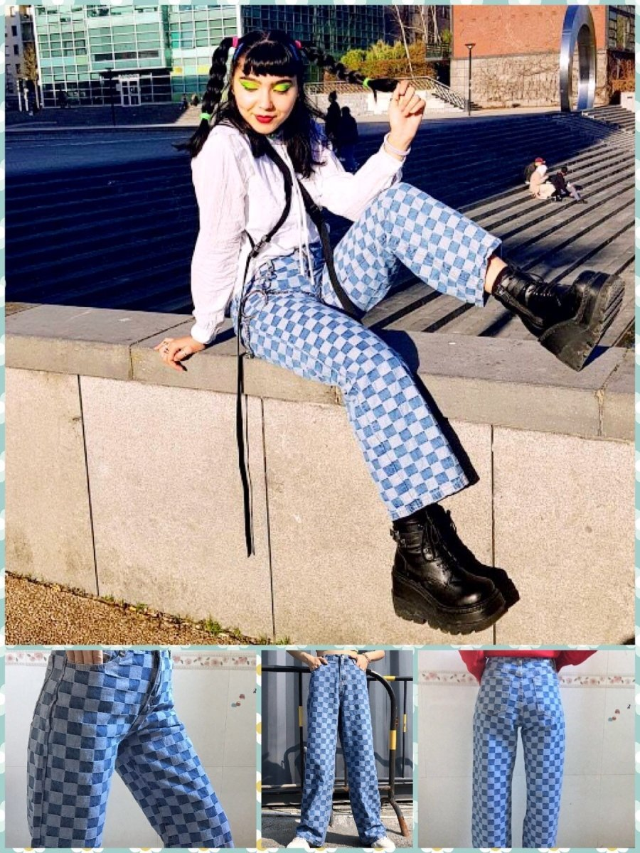 BlissGirl - Checkered Jeans - S - Harajuku - Kawaii - Alternative - Fashion