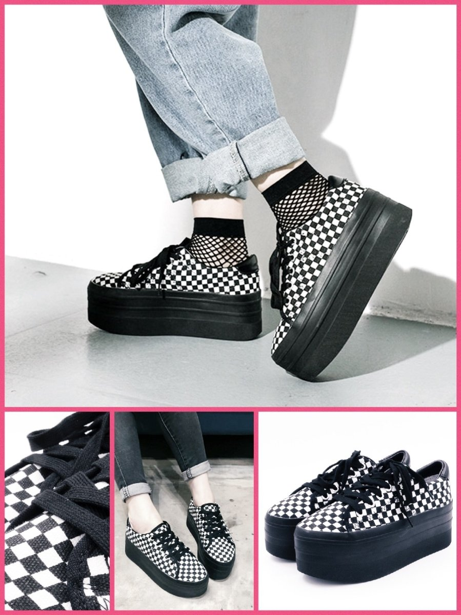 BlissGirl - Checkered Platform Sneakers - 35 - Harajuku - Kawaii - Alternative - Fashion