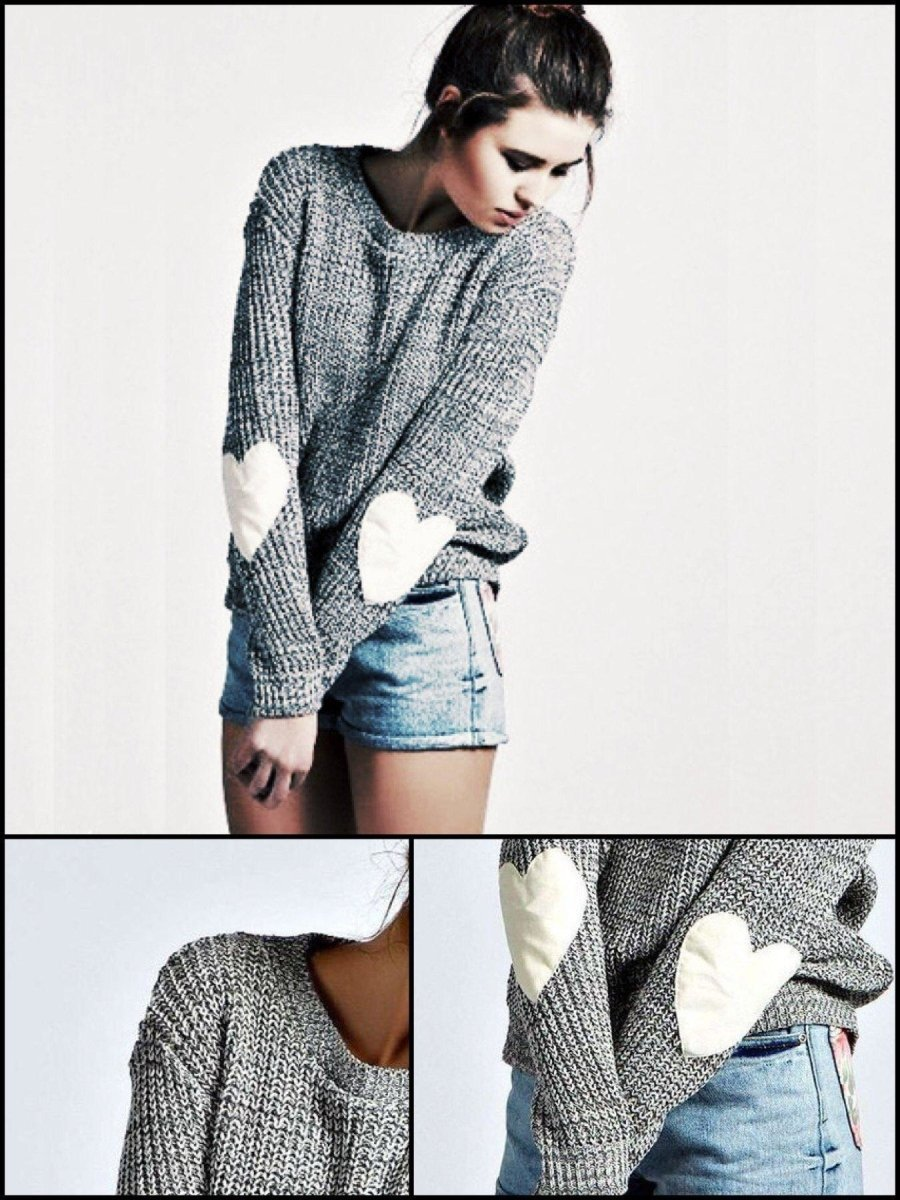 BlissGirl - Cozy Gray Heart Sweater - M / Gray - Harajuku - Kawaii - Alternative - Fashion