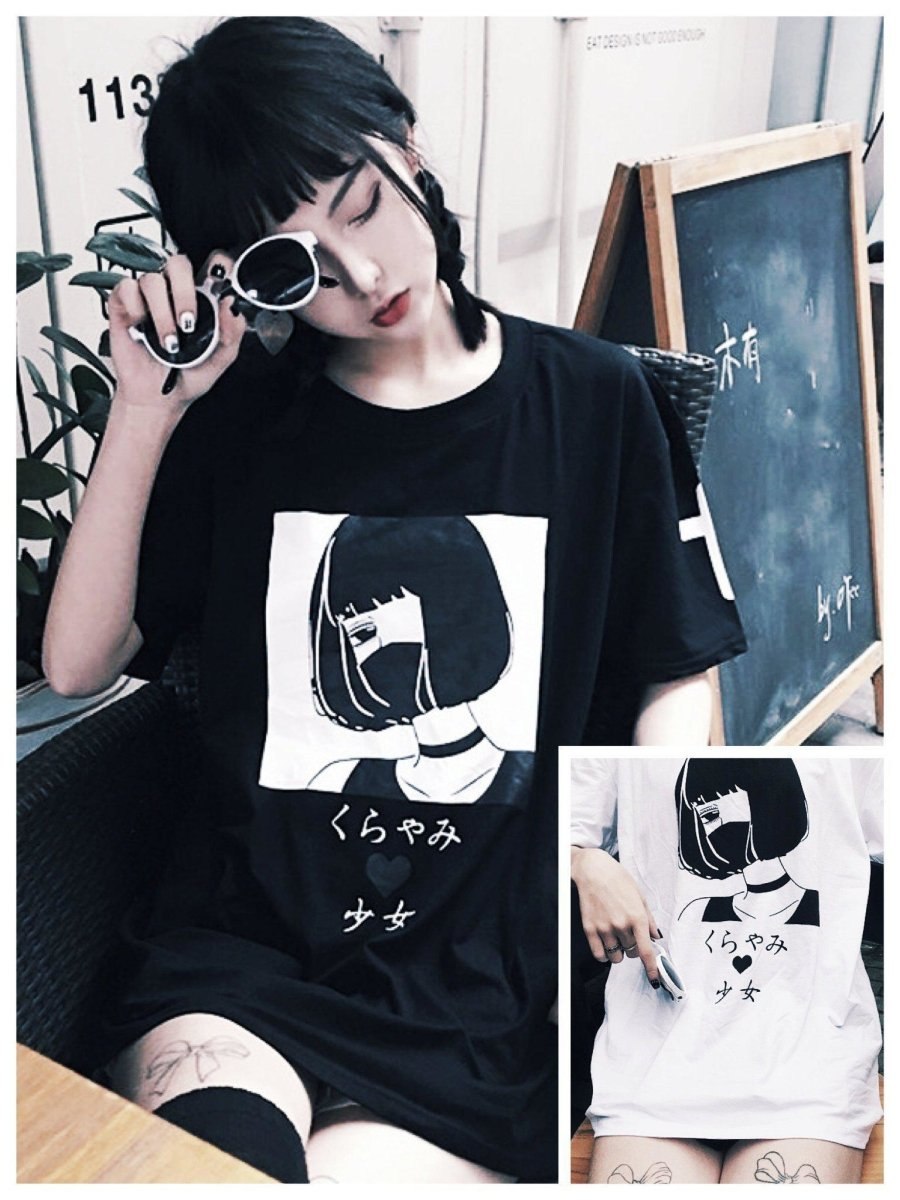 BlissGirl - Cute Mystery Girl Tee - Black / S - Harajuku - Kawaii - Alternative - Fashion