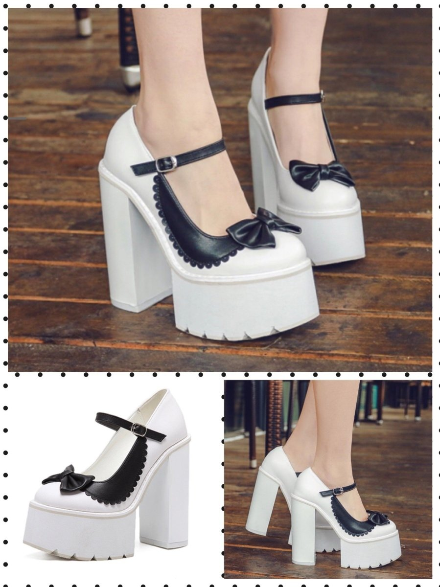 BlissGirl - Dark & Light Platform Heels - White / 34/4 - Harajuku - Kawaii - Alternative - Fashion