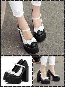 BlissGirl - Dark & Light Platform Heels - Black / 34/4 - Harajuku - Kawaii - Alternative - Fashion