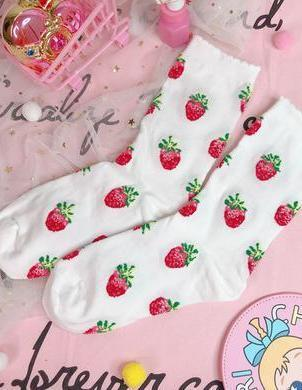 BlissGirl - Dreamy Strawberry Milk Socks - White / One size - Harajuku - Kawaii - Alternative - Fashion