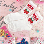 BlissGirl - Dreamy Strawberry Milk Socks - Harajuku - Kawaii - Alternative - Fashion