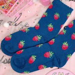 BlissGirl - Dreamy Strawberry Milk Socks - Navy blue / One size - Harajuku - Kawaii - Alternative - Fashion