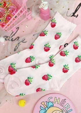 BlissGirl - Dreamy Strawberry Milk Socks - Light pink / One size - Harajuku - Kawaii - Alternative - Fashion