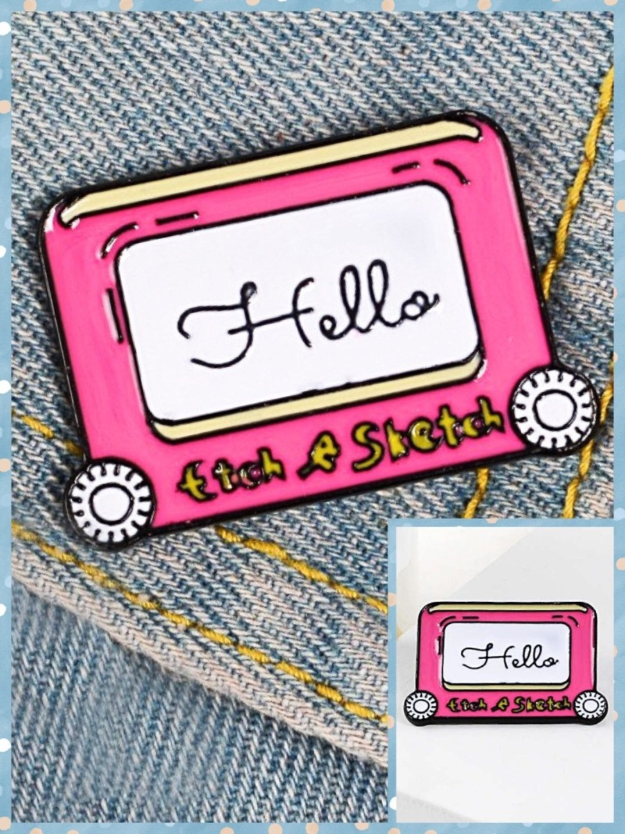 BlissGirl - Etch-a-Sketch Enamel Pin - Pink - Harajuku - Kawaii - Alternative - Fashion