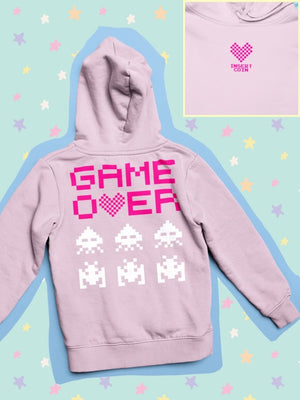 BlissGirl - Game Over Hoodie - S / Light Pink - Harajuku - Kawaii - Alternative - Fashion