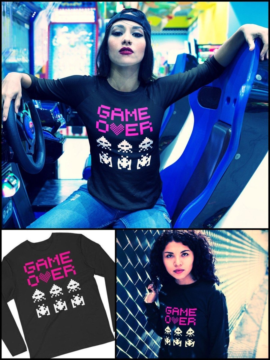 BlissGirl - Game Over Long Sleeve Tee - Black / S - Harajuku - Kawaii - Alternative - Fashion