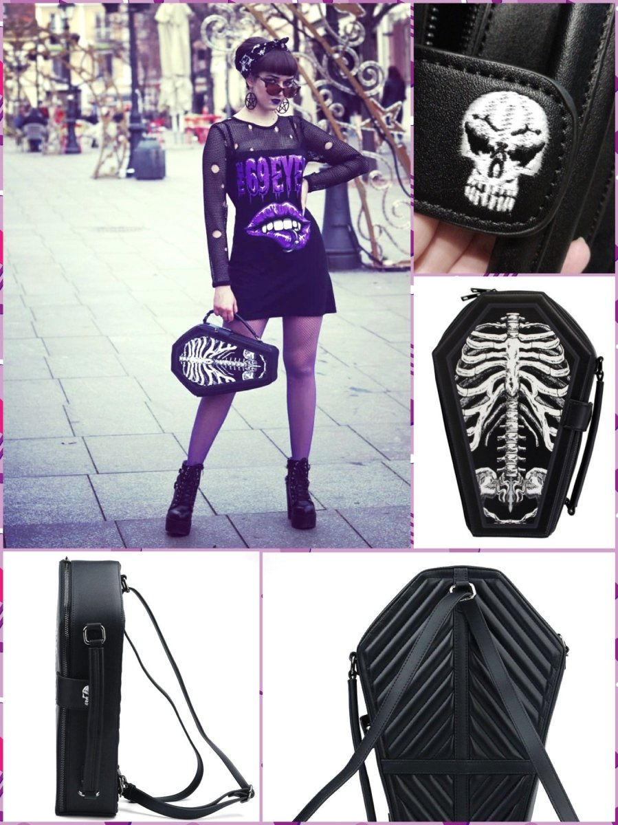 BlissGirl - Gothic Skeleton Coffin Bag - Skeleton - Harajuku - Kawaii - Alternative - Fashion