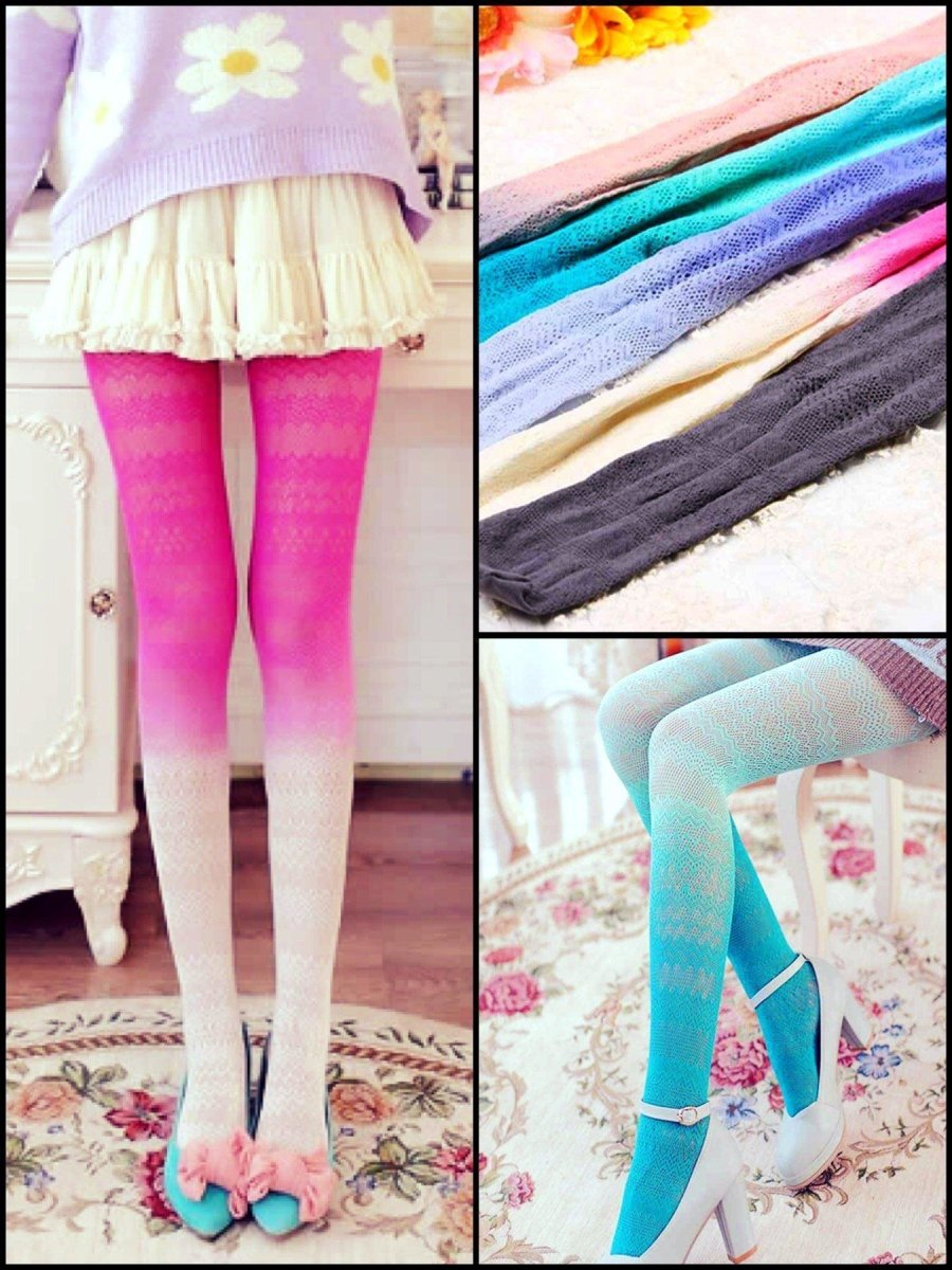 BlissGirl - Gradient Lace Stockings - Harajuku - Kawaii - Alternative - Fashion