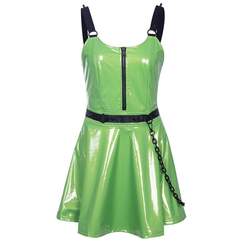 BlissGirl - Green Vinyl Dress - Harajuku - Kawaii - Alternative - Fashion
