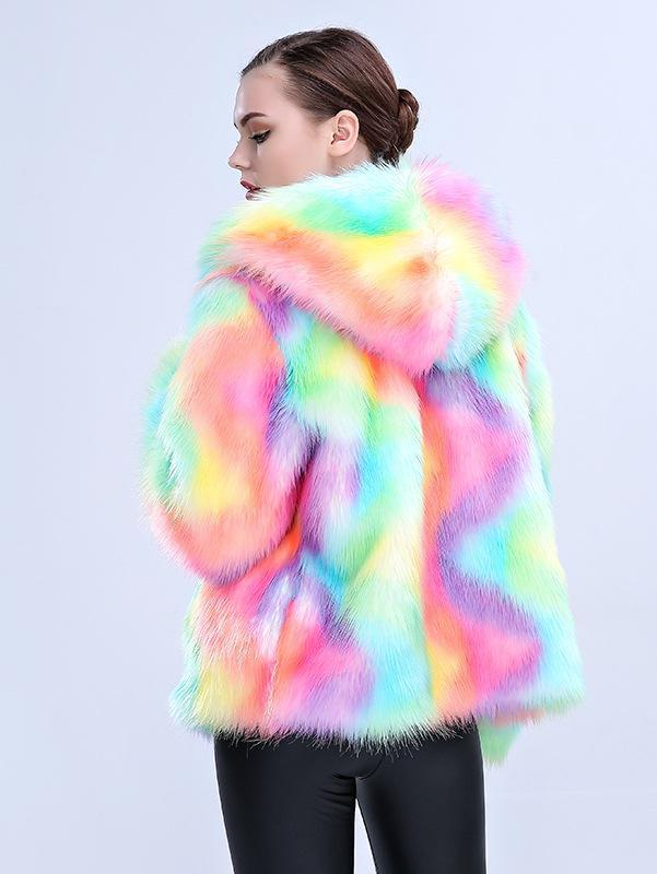 BlissGirl - Happy Unicorn Faux Fur Jacket - Harajuku - Kawaii - Alternative - Fashion