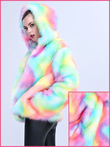 BlissGirl - Happy Unicorn Faux Fur Jacket - L - Harajuku - Kawaii - Alternative - Fashion