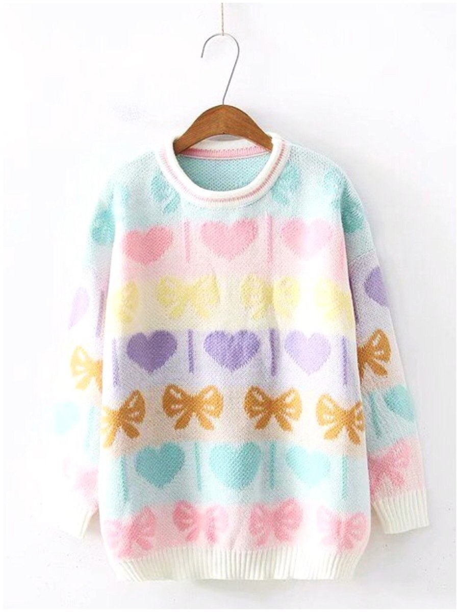 BlissGirl - Heart & Bow Sweater - One size - Harajuku - Kawaii - Alternative - Fashion