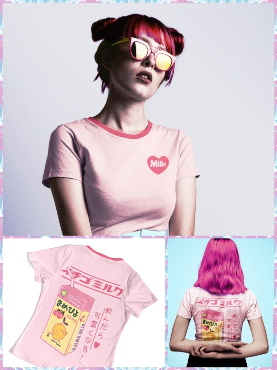 BlissGirl - Heart Milk Box Tee - Pink / M - Harajuku - Kawaii - Alternative - Fashion