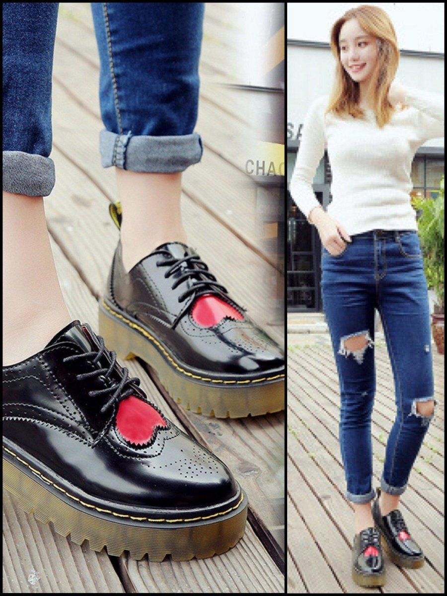 BlissGirl - Heart Oxford Martin Shoe - Harajuku - Kawaii - Alternative - Fashion