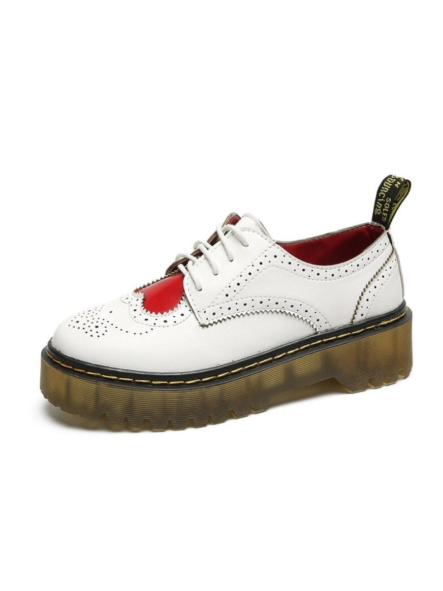 BlissGirl - Heart Oxford Martin Shoe - White / 6.5 - Harajuku - Kawaii - Alternative - Fashion