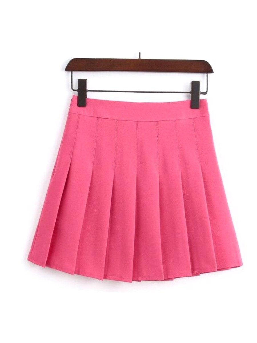 BlissGirl - High Waist Pleated Skirt - Rose Red / XS - Harajuku - Kawaii - Alternative - Fashion
