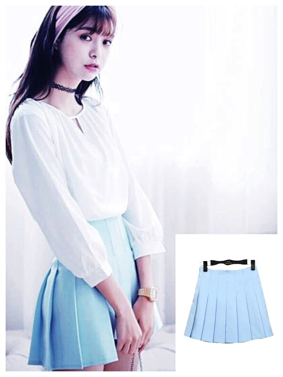 BlissGirl - High Waist Pleated Skirt - Sky Blue / XS - Harajuku - Kawaii - Alternative - Fashion