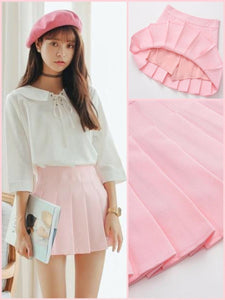 BlissGirl - High Waist Pleated Skirt - Pink / XS - Harajuku - Kawaii - Alternative - Fashion