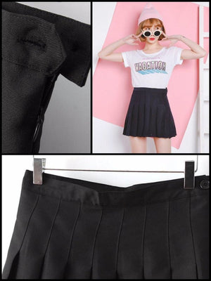 BlissGirl - High Waist Pleated Skirt - Black / XS - Harajuku - Kawaii - Alternative - Fashion