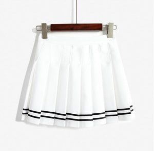 BlissGirl - High Waist Tennis Skirt - White / S - Harajuku - Kawaii - Alternative - Fashion