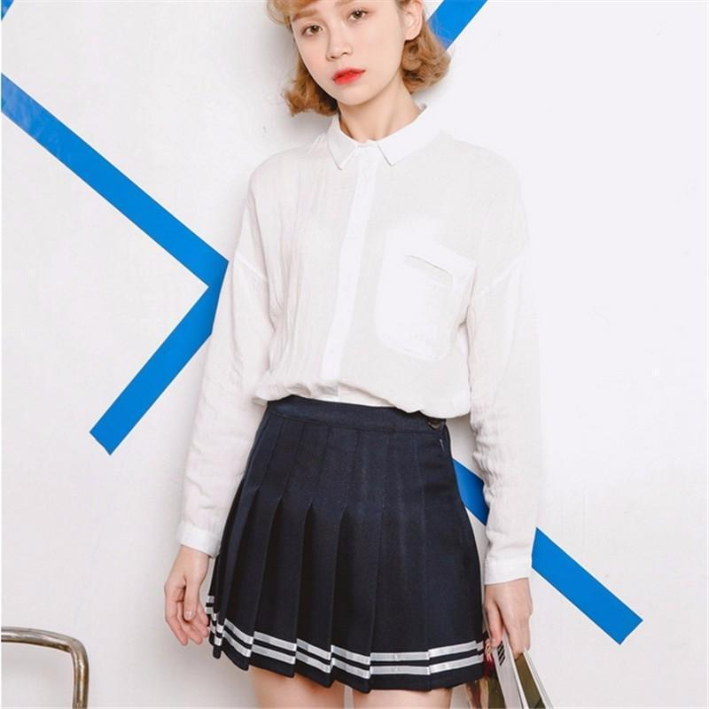 BlissGirl - High Waist Tennis Skirt - Navy blue / S - Harajuku - Kawaii - Alternative - Fashion