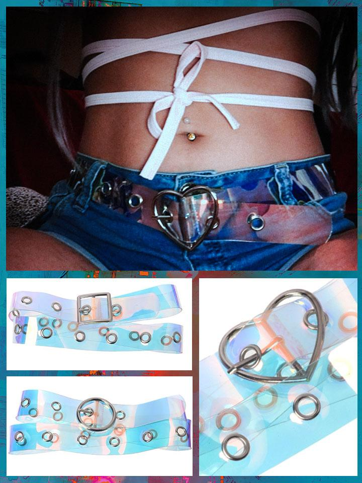 BlissGirl - Holographic Punky Belt - Harajuku - Kawaii - Alternative - Fashion