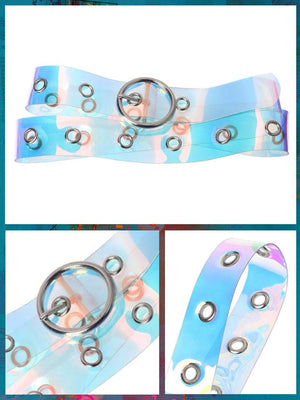 BlissGirl - Holographic Punky Belt - Circle - Harajuku - Kawaii - Alternative - Fashion