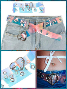 BlissGirl - Holographic Punky Belt - Heart - Harajuku - Kawaii - Alternative - Fashion