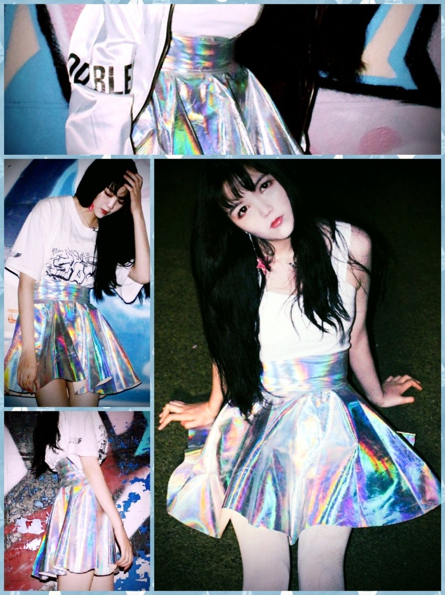 BlissGirl - Holographic Skater Skirt - S - Harajuku - Kawaii - Alternative - Fashion