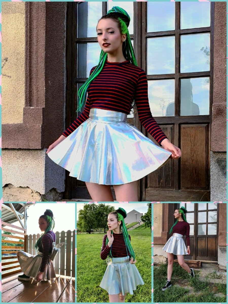 BlissGirl - Holographic Skater Skirt - Harajuku - Kawaii - Alternative - Fashion