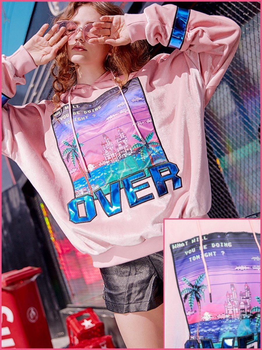 BlissGirl - Holographic VaporWave Hoodie - Pink / S - Harajuku - Kawaii - Alternative - Fashion