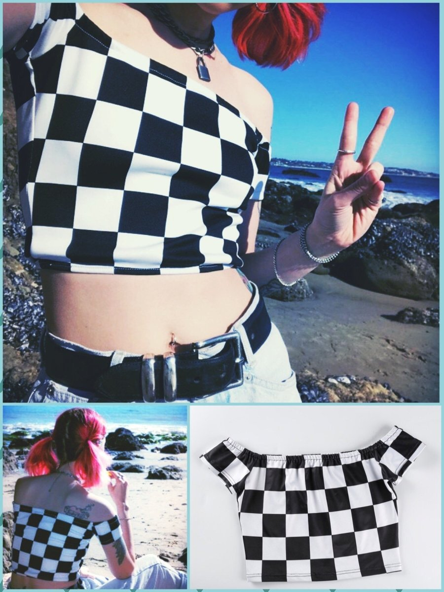 BlissGirl - Hot Checkers Crop Top - L - Harajuku - Kawaii - Alternative - Fashion