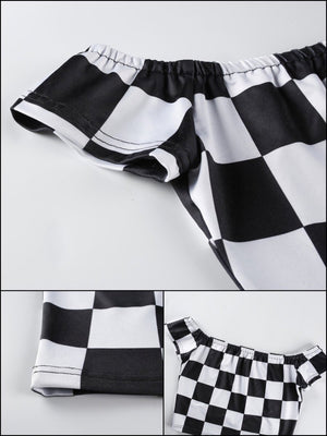 BlissGirl - Hot Checkers Crop Top - Harajuku - Kawaii - Alternative - Fashion